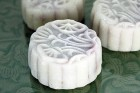 Snow-skin mooncakes with cherry almond filling