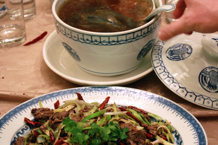 Soup and Beef at Chinese New Year Dinner