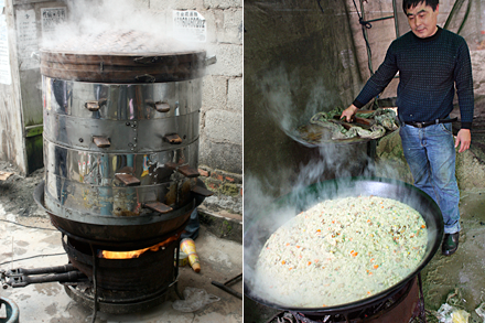 Steaming Food and Cooking Rice