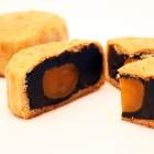 Black sesame and salted yolk moon cake