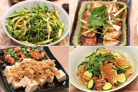 Chili Pepper Tiger Salad, Tofu and Century Egg Salad, Spicy Pork Skin Aspic, Jellyfish and Wood Ear Salad