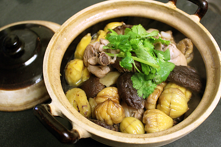 Braised Chicken with Chestnuts and Shiitake Mushrooms